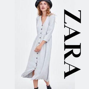 Zara trf Gray Button Down Maxi Dress NWT